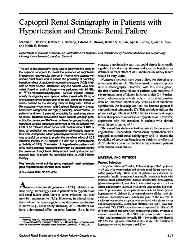 Captopril Renal Scintigraphy In Patients With Hypertension And Chronic Renal Failure Journal Of Nuclear Medicine